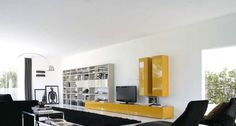 Logo 218 Wall Unit with Bookcase System by Sangiacomo, Italy has Matt lacquered Corda Bookcase, bases and wall units gloss lacquered Ocra, bookcase doors gloss lacquered Corda. Manufactured By San Giacomo.