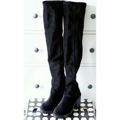 H&M | NWT Thigh-high Platform Boots All black thigh-high boots in a soft velvet-like material with a chunky rubber sole. Heel = about 4-in Shaft = about 23-in Opening = about 7.5-in when laid flat. Brand new with tag. Never worn. Has some stretch, doesn't slide down, but still better suited for legs similar to model. 100% polyester. H&M size 5.5//EU 36, which is a US size 6. Fits as a size 6, marked as such. PRICE IS FIRM. NO TRADES. BUNDLE FOR DISCOUNT. H&M Shoes Over the Knee Boots