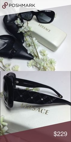 Versace 🔳 Vintage Sunglasses Versace 🔳 Vintage Sunglasses, Criss-Cross Diamond Pattern, Beautiful and Extremely Comfortable, Dark Lenses, One Scratch on Upper Left Lens - Does not obstruct my vision, (Comes with Original Box - Box, Normal Wear & Tear) Versace Accessories Sunglasses