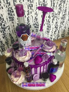 Birthday Ideas Discover Does life get any better? Gin sweets and cake all in one Available from Ginger Whale Delicatessen in Gomersal West Yorkshire 19th Birthday Cakes, Birthday Drip Cake, Adult Birthday Cakes, Birthday Cakes For Women, Alcohol Birthday Cake, 21st Birthday Cupcakes, Birthday Ideas, Hennessy Cake, Liquor Cake