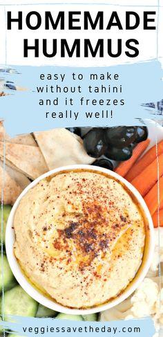 Humus Recipe Without Tahini, Humus Recipe Easy, Homemade Hummus Without Tahini, Homemade Tahini, Unique Recipes, Vegan Recipes Easy, Chickpea Recipes, Diet Recipes, Humas Recipe