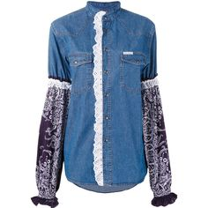 Forte Couture printed sleeve denim shirt (1.880 RON) ❤ liked on Polyvore featuring tops, blue, denim top, blue denim shirt, shirt top, denim shirt and blue shirt