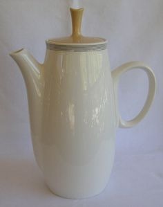 Franciscan Fan Tan Whitestone Wear Gladding McBean Mid Century Mod Coffee Pot