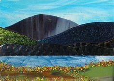 Mountain and Lake Scene fused glass panel | sroston - Glass on ArtFire