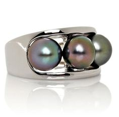 hsn Designs by Turia 7 8mm Cultured Tahitian Pearl Sterling 3 Stone Ring Size 8 #DesignsbyTuria #ThreeStone