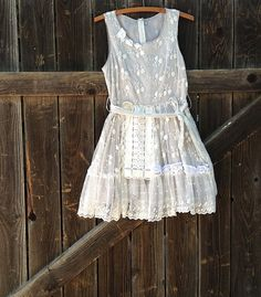 gray white lace vintage lace roses small petite junior bridesmaid party eco ecru prairie girl wedding party couture dress