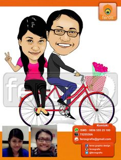 #caricature #caricatures #toon #drawing #vector #paint #digital #karikatur #wedding #couple #love #indonesian #bike