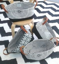 DIY fabric basket with leather handles. Free tutorial