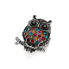 Lattice Crystal Stretch Owl Cocktail Ring Multicolor