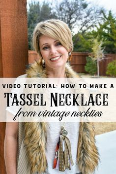 This video tutorial will show you how to make a tassel necklace from vintage neckties. If you ever wondered what can I do with old neckties, this is the perfect idea. This creative upcycle is easy, inexpensive and fun!  #vintagestyle #DIYjewelry #necktierepurpose #oldneckties #videolesson #tassel #vintagecrafts