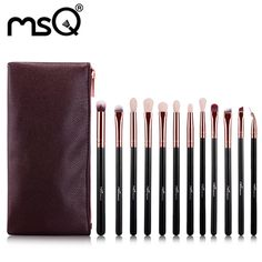 16.58$  Watch now - http://alixs3.shopchina.info/go.php?t=32802719621 - MSQ 12pcs Rose Gold Eye Makeup Brushes Pro Set with Case Soft Synthetic Hair Flawless Concealer Highlight Make up Brushes kit  #aliexpress
