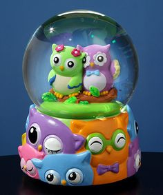 The San Francisco Music Box Company Jingle Jumbles Owl Water Globe Water Globes, Snow Globes, Globes For Sale, Biscuit, Nursery Shelves, Whimsical Owl, Box Company, Owl Always Love You, Glass Birds