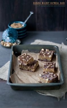 Banana-Walnut Oatmeal Bars with Salted Caramel and Chocolate