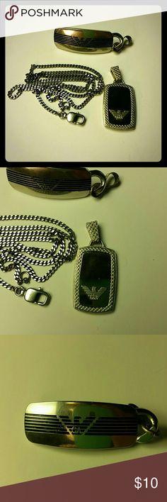 """Emporio Armani dog tag style pendents, one chain Two Emporio Armani stainless steel dog tag style pendents, one 19"""" chain. Some scratches from wear. Includes box Emporio Armani Accessories Jewelry"""