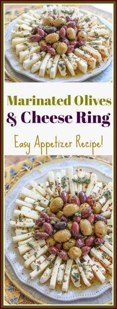 Entertaining doesn't have to be complicated. This easy marinated olives and cheese ring appetizer is beautiful and delicious. It is the perfect appetizer for the holidays, parties, or wine night! Make it for your next special occasion! Finger Food Appetizers, Easy Appetizer Recipes, Yummy Appetizers, Appetizers For Party, Snack Recipes, Cooking Recipes, Recipes Dinner, Potato Recipes, Pasta Recipes