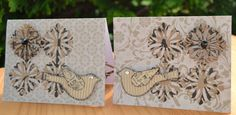 Set of 2 Linen Greeting Cards Flowers and от MoreFriendsAndCo