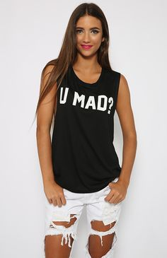 Private Party - U Mad? Tank - Black   Clothes   Peppermayo