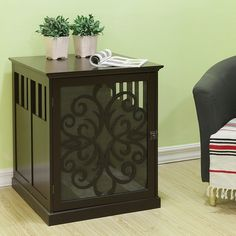 Lend your living room or den a touch of functional style with this small pet end table. It is made from medium-density fiberboard and hardwood materials and serves as a medium-sized doggie hideaway or can be used to disguise kitty's litter pan.