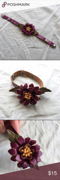 Leather flower bracelet Purple leather handmade flower bracelet with adjustable snap closure.  Stamped leather band with beautiful purple and yellow 3D flower. Jewelry Bracelets
