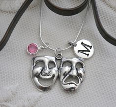 Mask Necklace, Theater Jewelry Gifts, Personalized Theater Necklace, Letter Birthstone, Tragedy Comedy, Actor Gifts Theater Graduation Gifts
