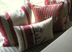 DIY - Dishtowels from Target made into Pillows ~ Love them! For no-sew, use Fabri-Tac