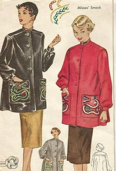 Items similar to Vintage McCalls 1530 Misses Smock Top or Overshirt with Dragon Embroidery Sewing Pattern Size 14 Bust 32 on Etsy Fashion Illustration Sketches, Retro Illustration, Fashion Design Sketches, Vogue Sewing Patterns, Vintage Sewing Patterns, Embroidery Patterns, Vintage Western Wear, Sailor Moon Art, Pattern Fashion