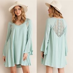 HELEN dress w/ lace detail - SAGE Solid trumpet sleeve A-line dress featuring lace detailing throughout. Non sheer. Fully lined. Woven. Light weight. 100%RAYON Bellanblue Dresses