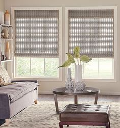 See more window coverings and pictures of window treatments for sunrooms. Farmhouse Window Treatments, Door Window Treatments, Window Treatments Living Room, Window Coverings, Curtains Living, Living Room Windows, Living Room Blinds, Kitchen Curtains, Patterned Curtains