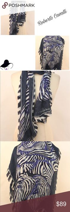 """Roberto Cavalli Abstract Stripe 100% Silk Scarf BRAND : Roberto Cavalli   MATERIAL : 100% Silk   COLOR :  Blue, floral print  LENGTH x WIDTH :  70"""" by 30""""  DETAILS :    CONDITION : Scarf is in great pre-owned condition.  NOTES : Measurements have been doubled where appropriate and are in inches.  Sweetpetunya Shop states that this item is authentic and has been posted in accordance with policies prohibiting the sale of counterfeit items.  Please see photos for further details and feel free…"""