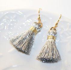 Tassel Earrings Silver Fringe Earrings BohoChic by AngelPearls