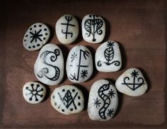 A few faux voodoo veve stones for my voodoo spa theme.
