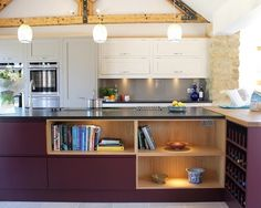These kitchen cabinets look beautiful in Farrow & Ball's Brinjal. Low-odour and low-VOC, these eco-friendly paints are perfect for use within the home. http://www.solidwoodkitchencabinets.co.uk/cabinets_blog/colours-month-autumnal-shades-solid-oak-kitchen-cabinets/