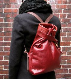 LOVE this red leather rucksack backpack. So good!