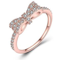 Just N1 18K Rose Gold Plated Cute Bow Knot Design Engagement Rings For Girls...