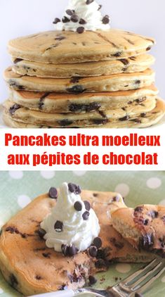 Recipe Ultra fluffy chocolate chip pancakes - A superb recipe for chocolate chip pancakes, inspired by a recipe from Clélia. Beat the whites in - Pancakes Nutella, Chocolate Chip Pancakes, Churros, Thermomix Desserts, Food Places, Breakfast Dessert, Chocolate Recipes, Good Food, Brunch