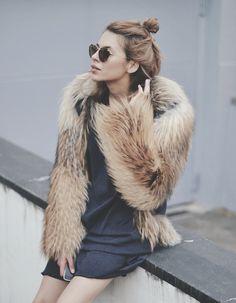 faux fur, top knot