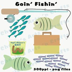 Instant Download, Goin Fishin Graphics, Cute Fishing Clip Art Set, Whimsical, PNG Files, Downloadable Graphics, For Kids