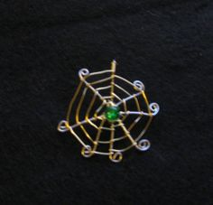 Seasonal spiderweb pendant with bead by MyTimeoutbathandcraf, $15.00
