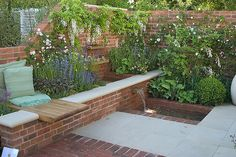 Brick garden Boxes - Courtyard garden with seat and water feature. - Brick garden Boxes – Courtyard garden with seat and water feature… - Small Garden Landscape Design, Brick Planter, Brick Garden, Backyard Water Feature, Water Features In The Garden, Garden Cottage, Garden Seating, Garden Boxes, Garden Planning