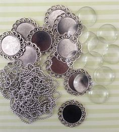 10 Pack Round Antique Silver Spiral Glass Picture Pendants w/ Ball Chains