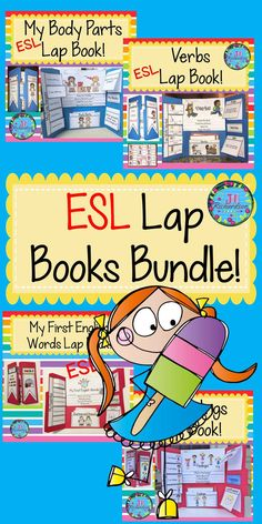 Help make your English Language Learner's transition into your classroom easier by using these engaging lap books! Save 25% by buying the bundle! This resource can be used for making a lap book or as an interactive notebook! Great ESL Activities to help your children learn English! Includes: My First English Words Lap Book Verbs Lap Book My Feeling Lap Book Body Parts Lap Book