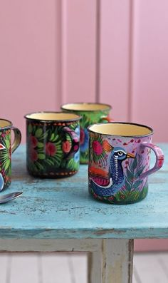 Mugs. Hand-painted in northern India