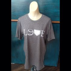 Grey Baseball LOVE t-shirt S-xxl