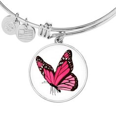 Stunning Pink Butterfly Bangle or Bracelet Jewelry Etsy Jewelry, Jewelry Gifts, Jewelry Bracelets, Bangles, Necklaces, Circle Pendant Necklace, Simple Necklace, Simple Jewelry, Initial Bracelet
