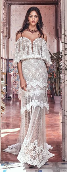 galia lahav spring 2018 bridal off the shoulder angel sleeves sweetheart neckline full embellishment capelet vintage a  line wedding dress sweep train (lizzy) mv -- Galia Lahav Spring 2018 Wedding Dresses