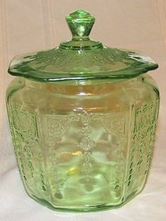 Vintage Green Princess Depression Glass Biscuit/Cookie Jar
