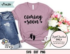 Coming Soon SVG, Pregnancy Announcement SVG, Mama in the Making SVG, Baby Reveal Svg, Pregnant Svg, Pregnancy Svg, Baby Announcement Svg Image Tips, Pregnancy Shirts, Coming Soon, Silhouette Studio, Announcement, Fonts, Things To Sell, Baby, Designer Fonts