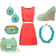 coral and turquoise : )