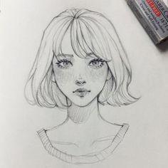 New Drawing Sketches Girl Faces Character Design Ideas Girl Drawing Sketches, Pencil Art Drawings, Cool Drawings, Drawing Tips, Drawing Faces, Drawing Ideas, Illustration Art Drawing, Girl Face Drawing, Drawing Drawing