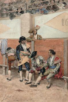 """Joaquín Agrasot . """" Descanso durante la lidia"""" . 1881. Museo Carmen Thyssen Málaga"""